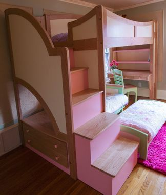 Handmade Girls Twin Loft Bunk Bed With Stairs Futon