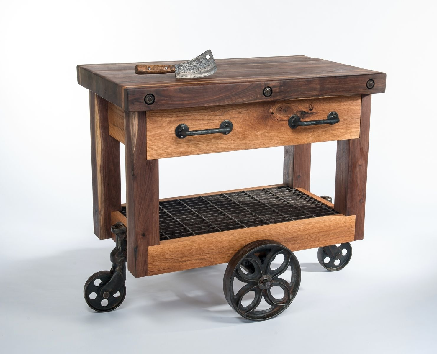 butcher block kitchen island cart open cabinets hand crafted walnut and oak lineberry factory