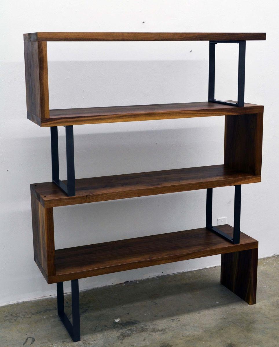 Custom Made Walnut Wood And Steel Ribbon Bookshelf by Fabitecture  CustomMadecom