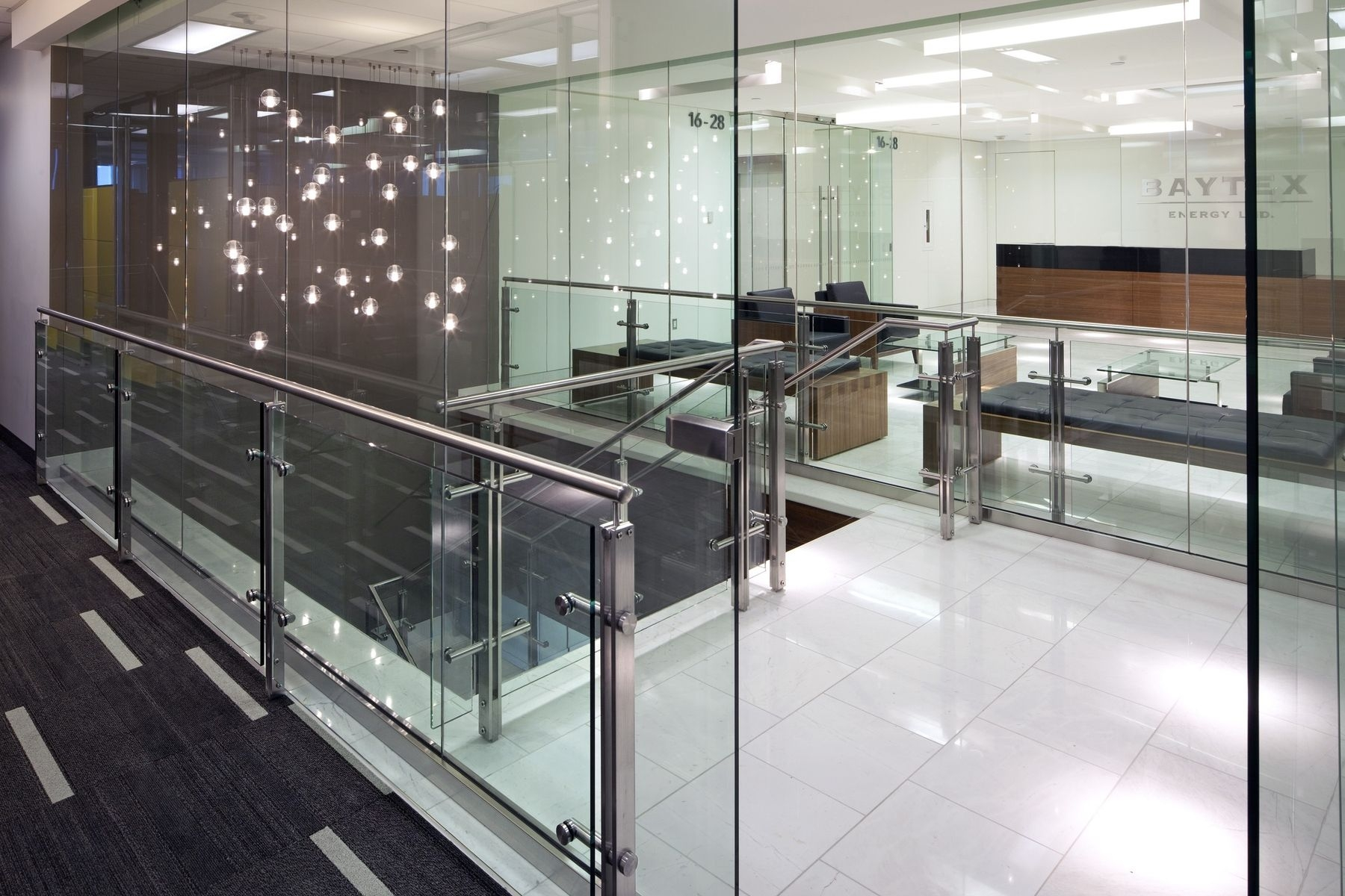 Hand Made Stainless Steel And Glass Stair Rail System By Prestige | Glass Hand Railing Design | Fancy | Street Railing | Commercial | Outdoor | Glass Etching