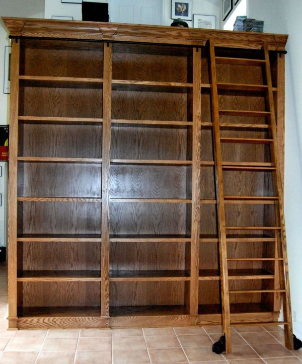 Bookcase with Rolling Library Ladder