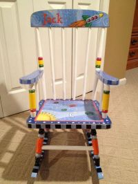 Hand Made Custom Hand Painted Child's Rocking Chair Youth