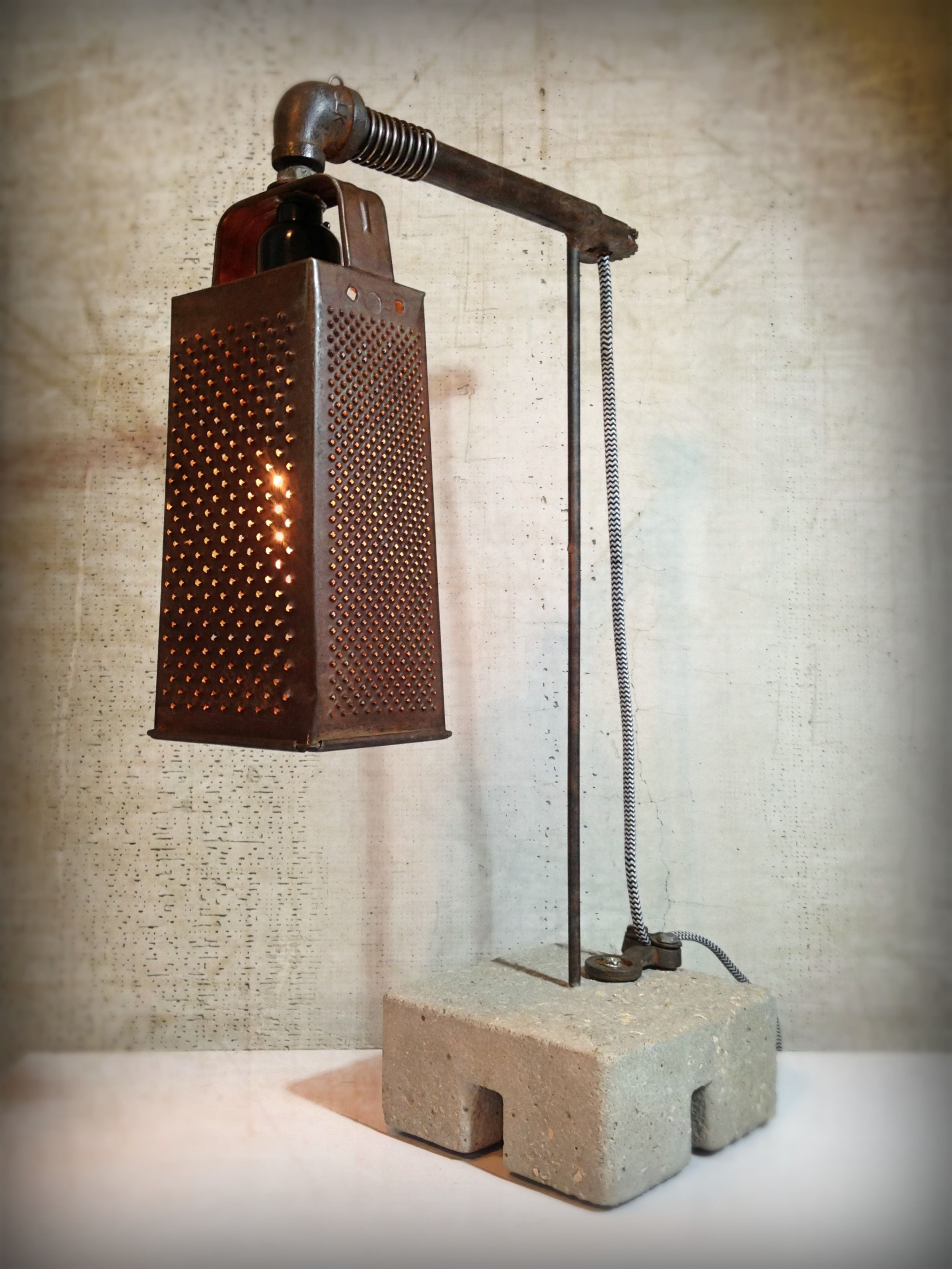 kitchen table light fixtures virtual designer custom upcycled recycled grunge minimalist reclaimed metal ...