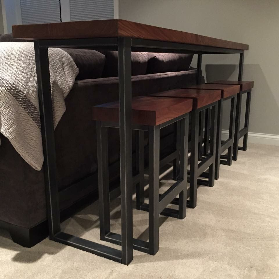 Custom Made Metal Stool With Wood Top By Bord