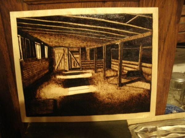 Custom Pyrography Art Barn Interior Woodburn