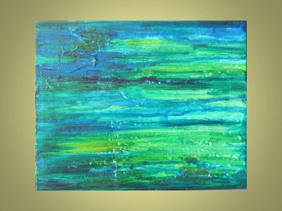 Hand Crafted Original Abstract Painting 8X10 Turquoise