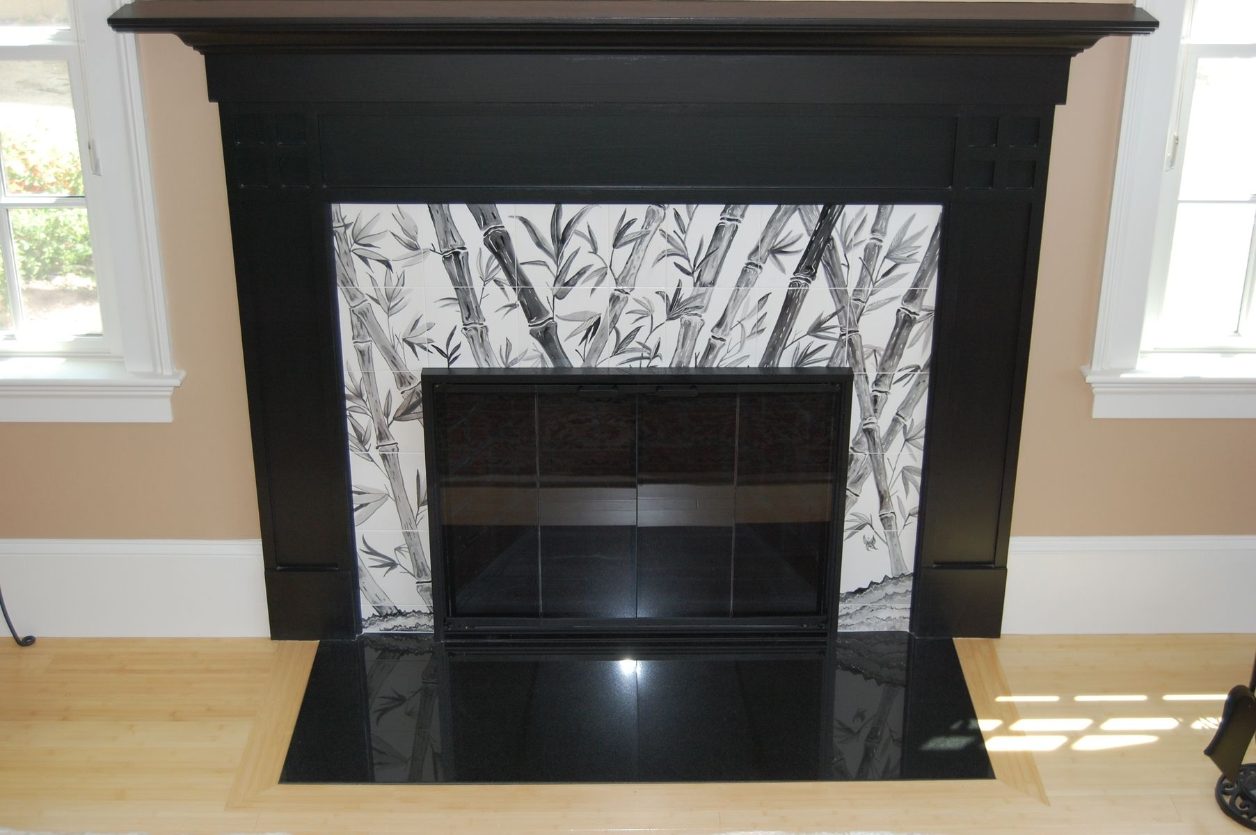 Hand Made Asian Fireplace With Bamboo By Dys Art Tiles