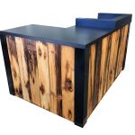 Buy Hand Made 3 Reclaimed Torched Pine Wood L Shaped Reception Desk Or Sales Counter Made To Order From Reception Counter Solutions Custommade Com