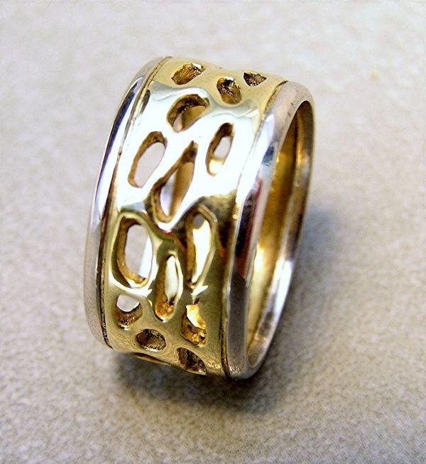 Handmade 18k Gold Platinum 10mm Wedding Band - Custom Design Evb Fine Jewelry Art