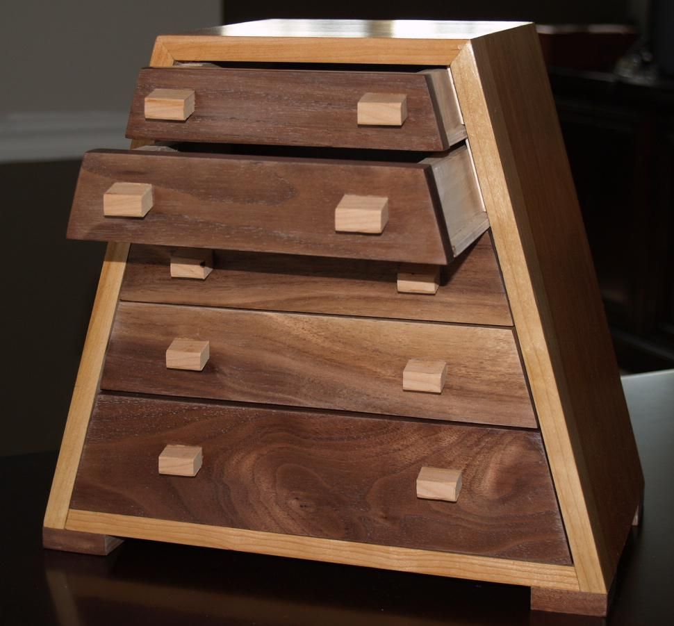 Custom Solid Cherry And Black Walnut Jewelry Box by Cannon