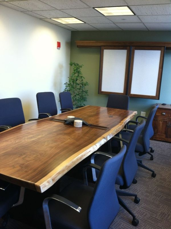Hand Live Edge Black Walnut Conference Room Table