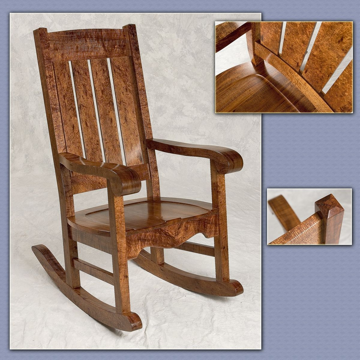 Hawaiian Chair Hand Crafted Hawaiian Curly Koa Mission Style Rocker By