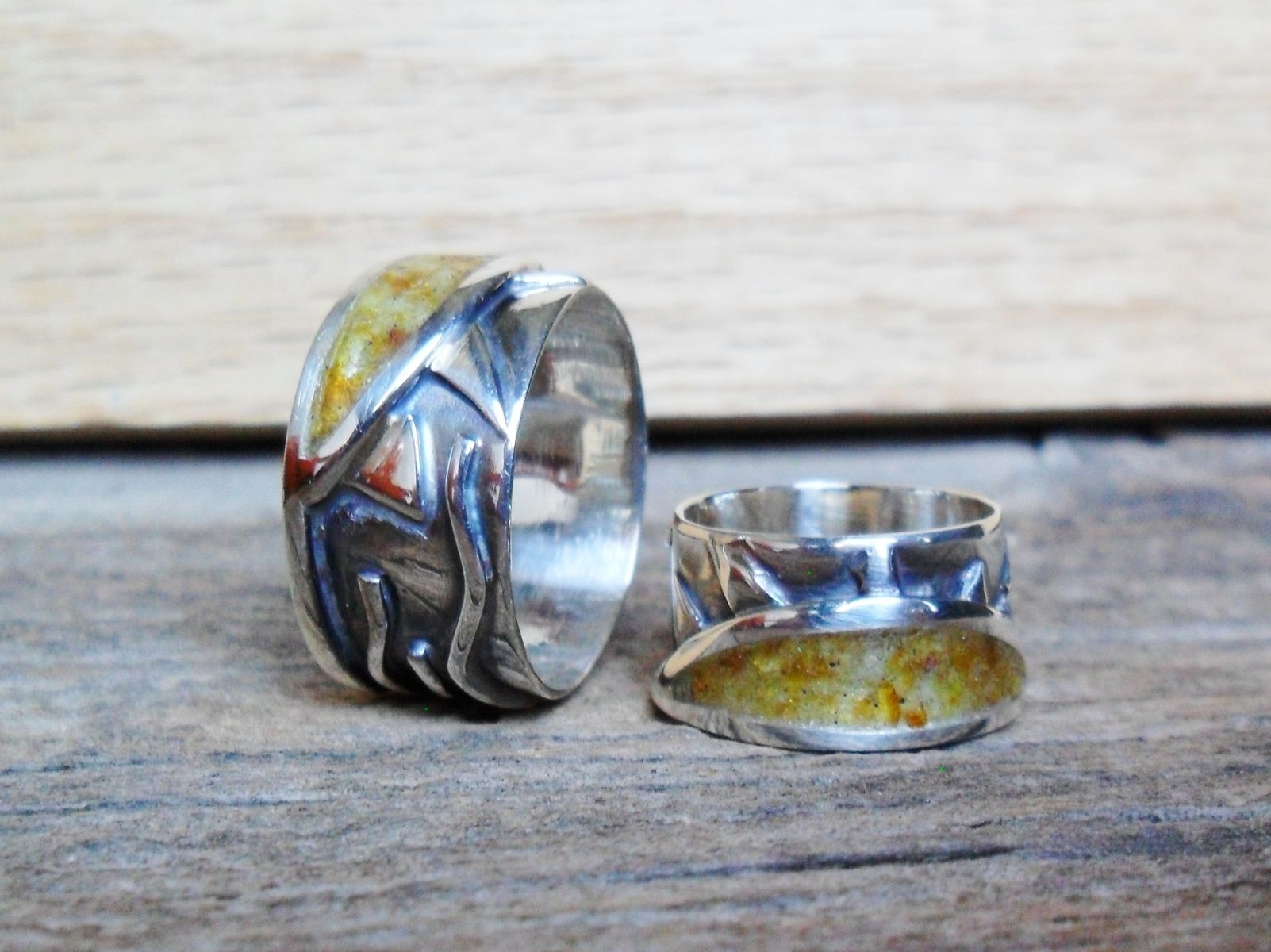 Custom Made Sterling Silver Mens Or Womens Ring With Amber