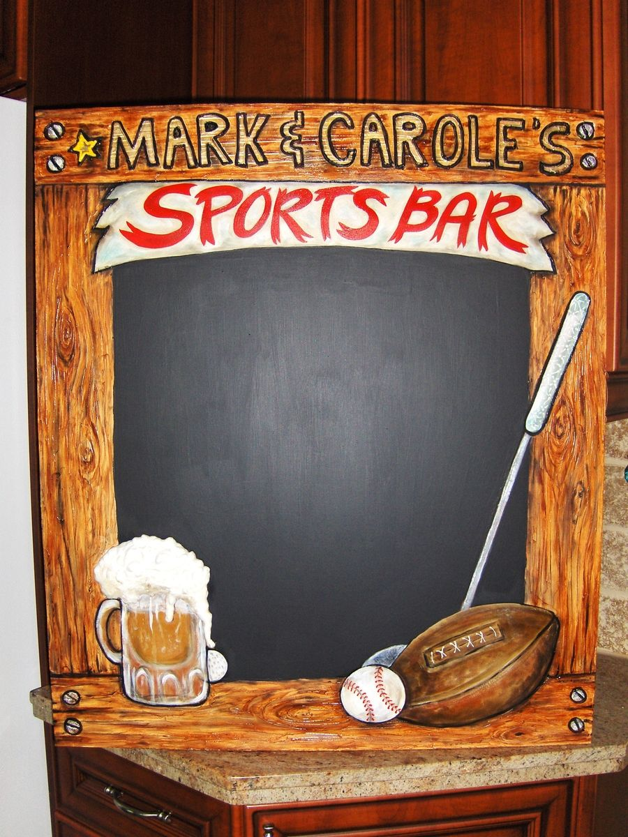 Hand Made Home Sports Bar Chalkboard With 3D Elements by