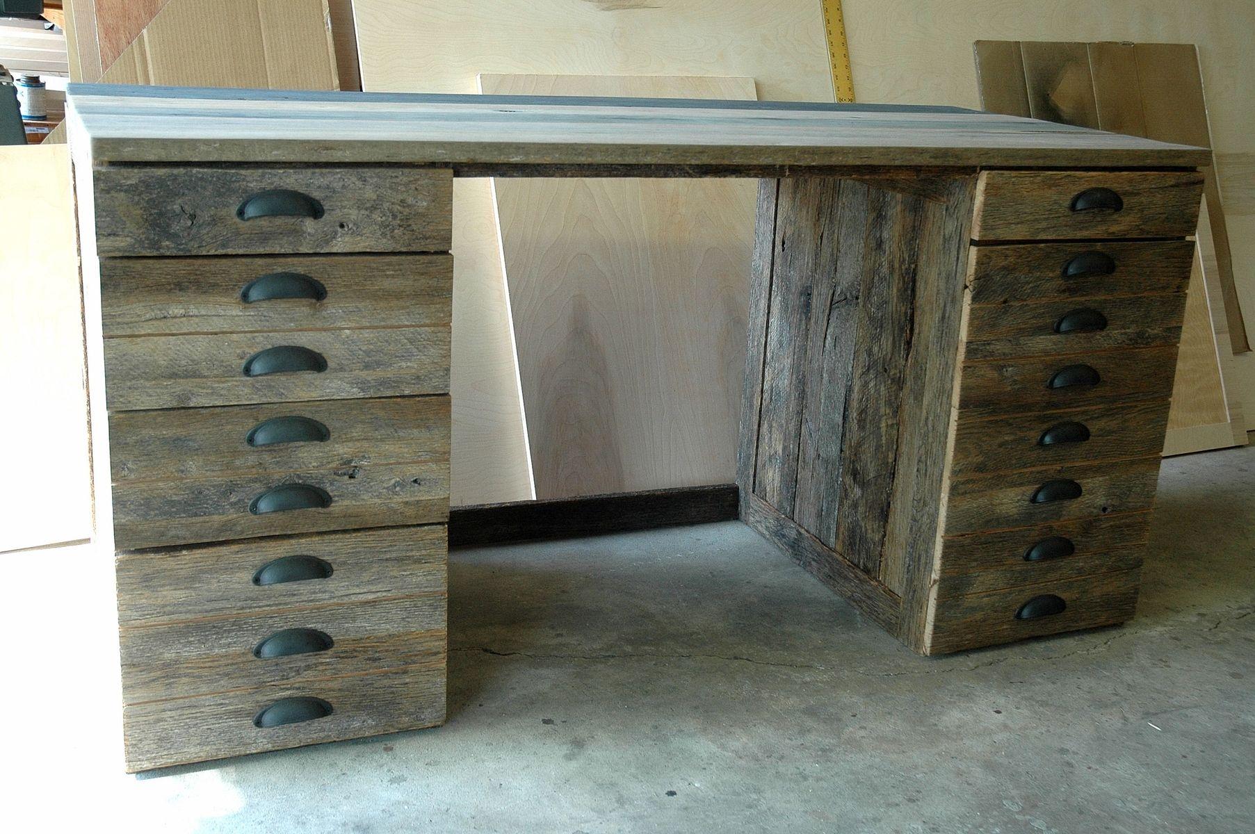 Hand Made Reclaimed Oak Wood Desk by Wooden