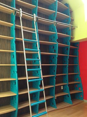 Custom Made Bookcase Wall Library With Ladder  Modern