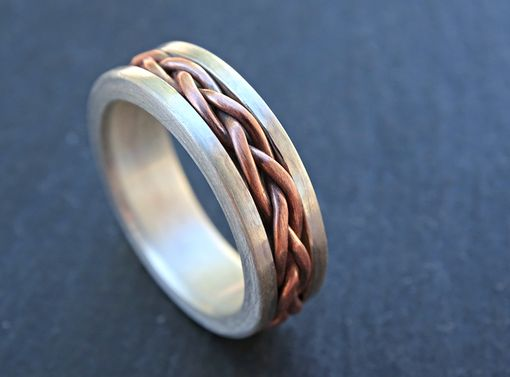 Buy A Custom Made Braided Silver Copper Ring Cool Mens
