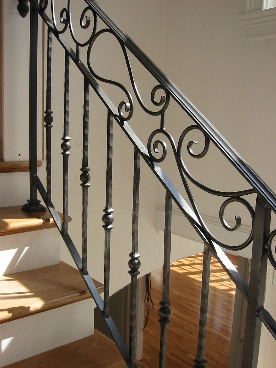 Hand Crafted Custom Interior Wrought Iron Railing By Amaral   Wrought Iron Railing Interior   Walnut Iron   Wood   Farmhouse   Country Style   Horizontal