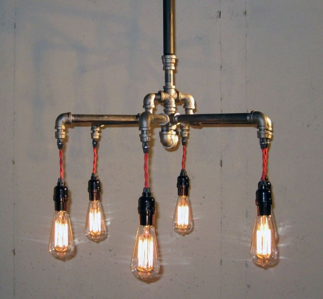 Custom Made Black Malleable Iron 6 Bulb Chandelier