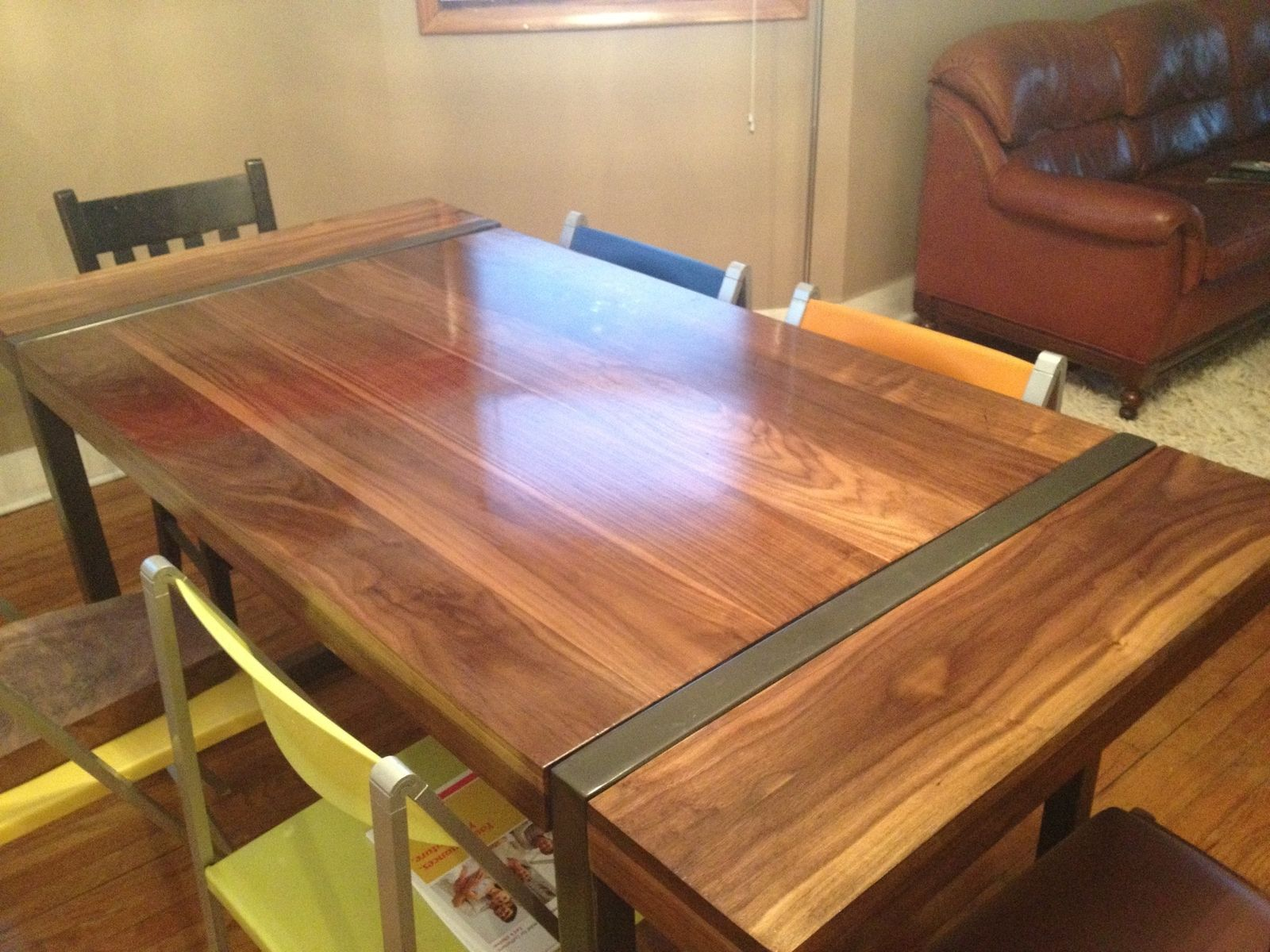 black walnut kitchen table hutch for sale hand made dining with welded steel base