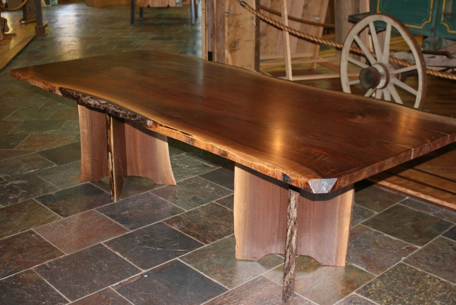 Handmade Live Edge Walnut Slab Dining Table by Corey