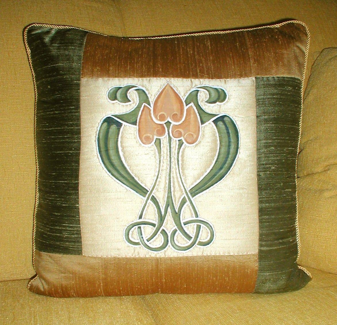 Hand Crafted Art Nouveau Pillow by Schmidt Mandell Studio
