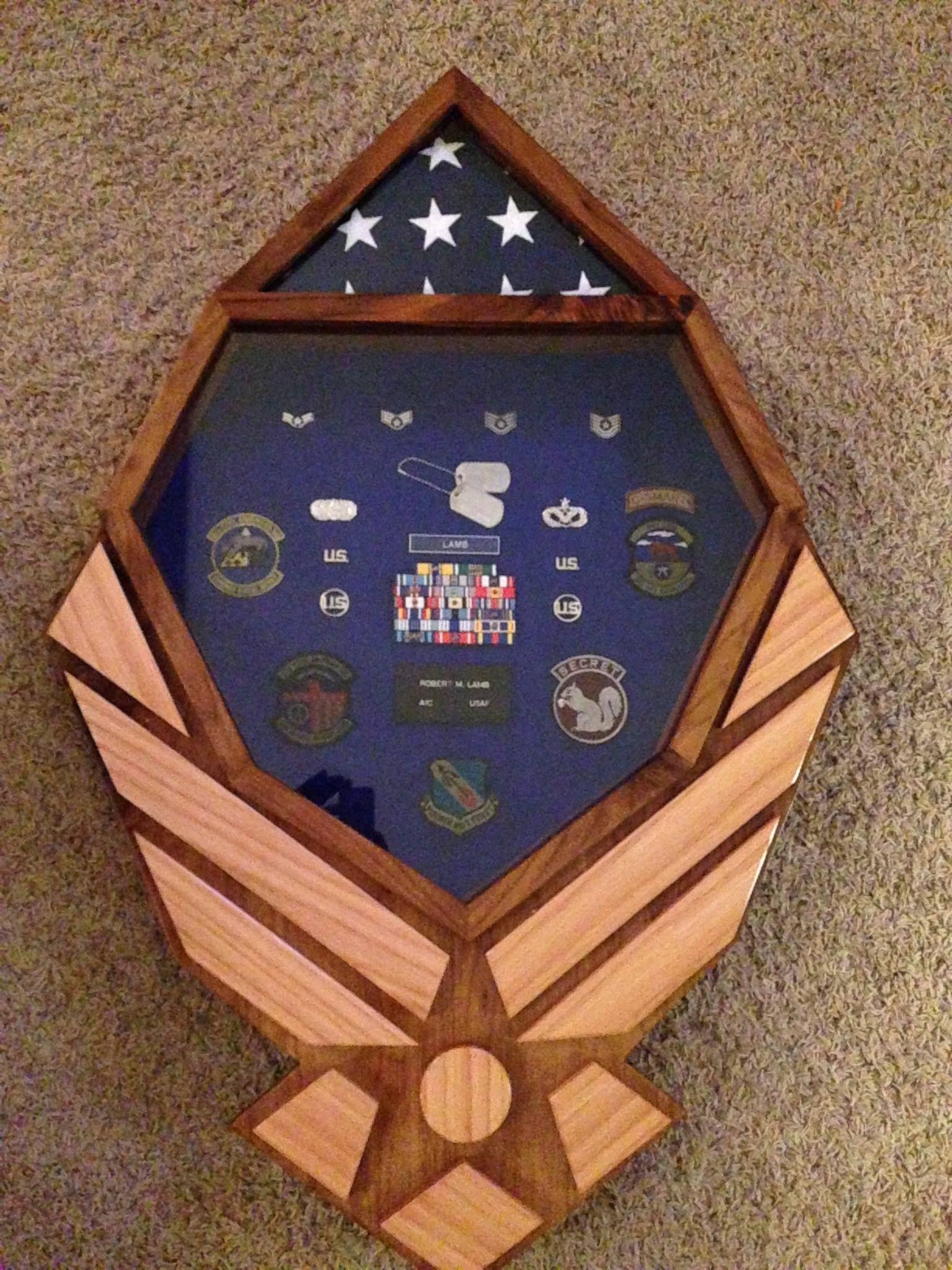 Custom Air Force Chevron Shadow Box by Stars and Stripes