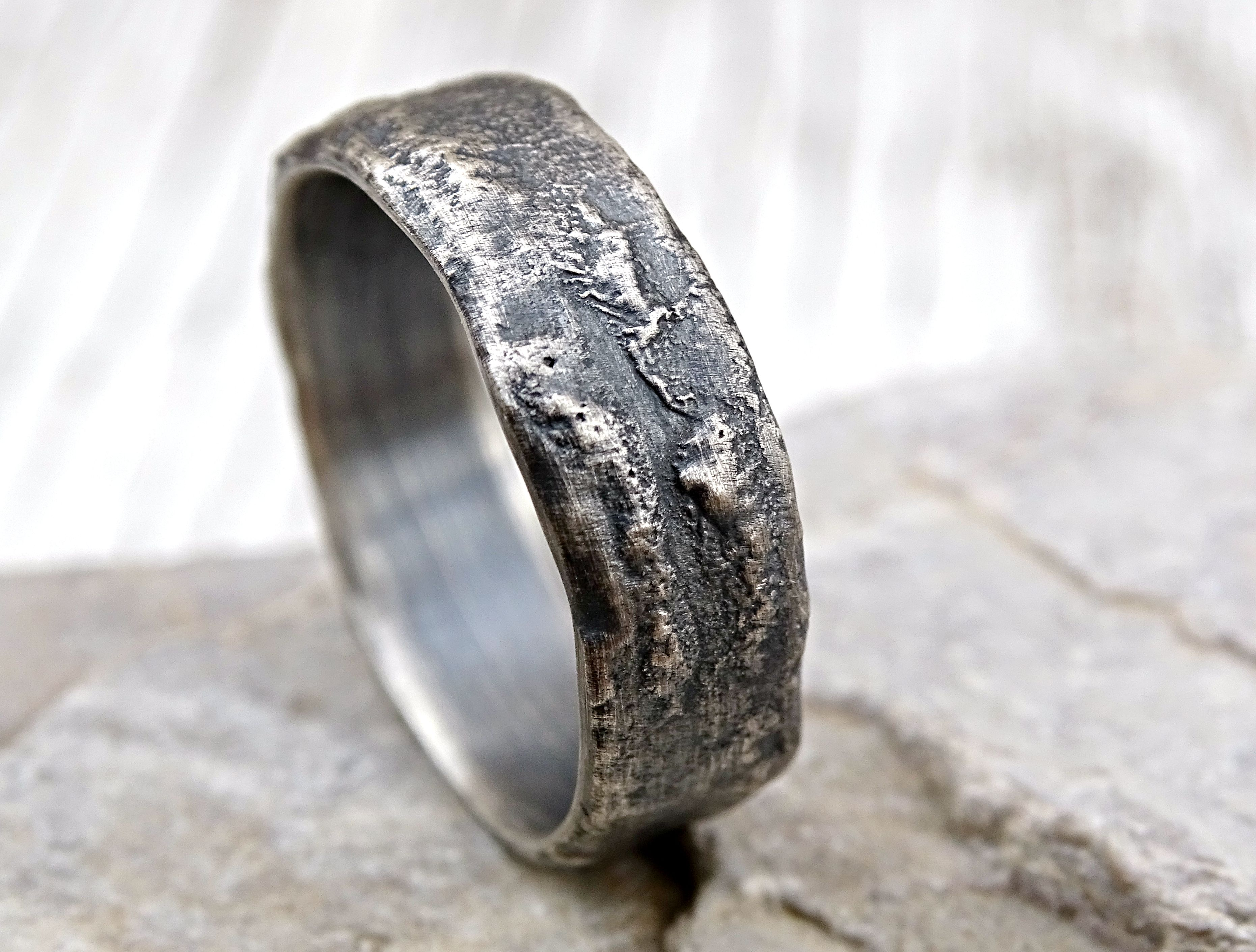custom made molten silver ring richly structured unique mens ring alternative wedding band silver