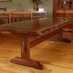 Live Edge Kitchen Table Open Shelves Hand Made Walnut Slab Trestle Dining By Corey Morgan Custom