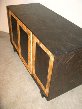 Hand Made Sliding Door Osb Credenza With Hardwood Feet by