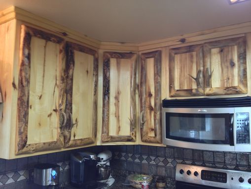 Hand Made Rustic Aspen Log Kitchen Cabinets And Built In Wall Spice Rack by Irelands Wood Shop
