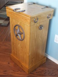 Buy a Hand Crafted Rustic Wood Trash Can, made to order ...