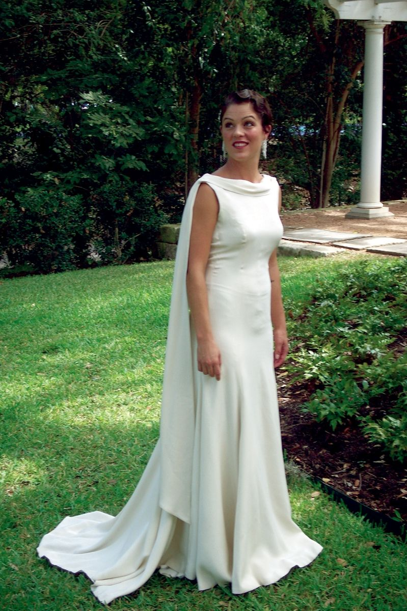 Hand Made Backless Silk Crepe Trumpet Bridal Gown by
