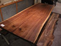 Handmade Walnut Live Edge Slab X Base Table by Woodrich ...