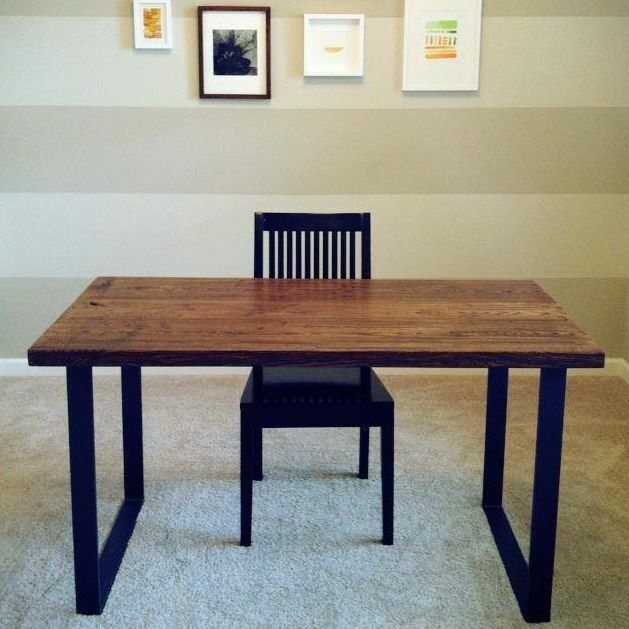 Handmade Reclaimed Wood Desk With Metal Frame by Bord