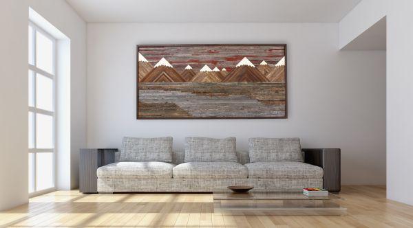 Custom Wood Wall Art Of Fiery Sunset Mountain Landscape