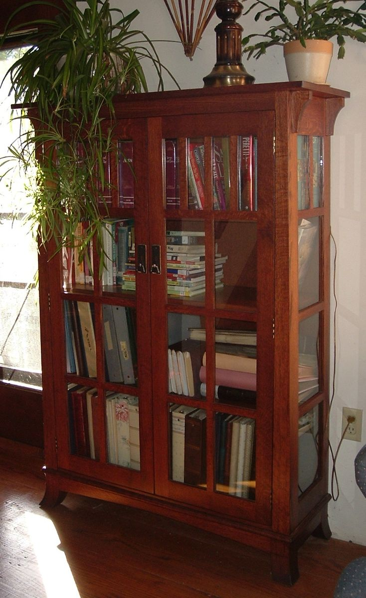 Handmade Mission Bookshelf With Glass Doors By Ivy Lane Fine