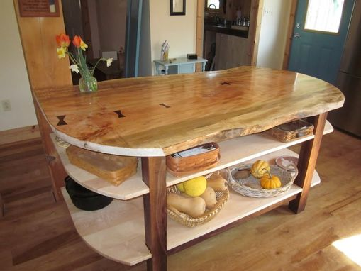 Hand Made Wide Live Edge Maple Kitchen Island With Walnut