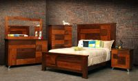 Hand Crafted Arial Fields Modern Walnut & Cherry Bedroom ...