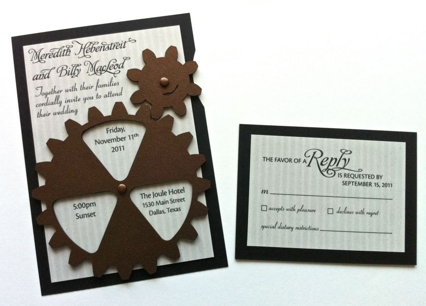 Custom Made Animated Gear Steunk Wedding Invitation