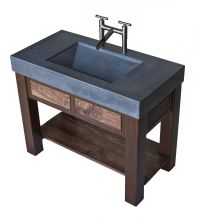 Hand Crafted Steel And Walnut Vanity With Integral ...