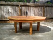 Hand Crafted Outdoor Redwood 10 Sided Polygon Table