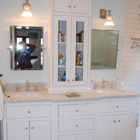 Custom White Bathroom Vanity With Tower by Wooden Hammer