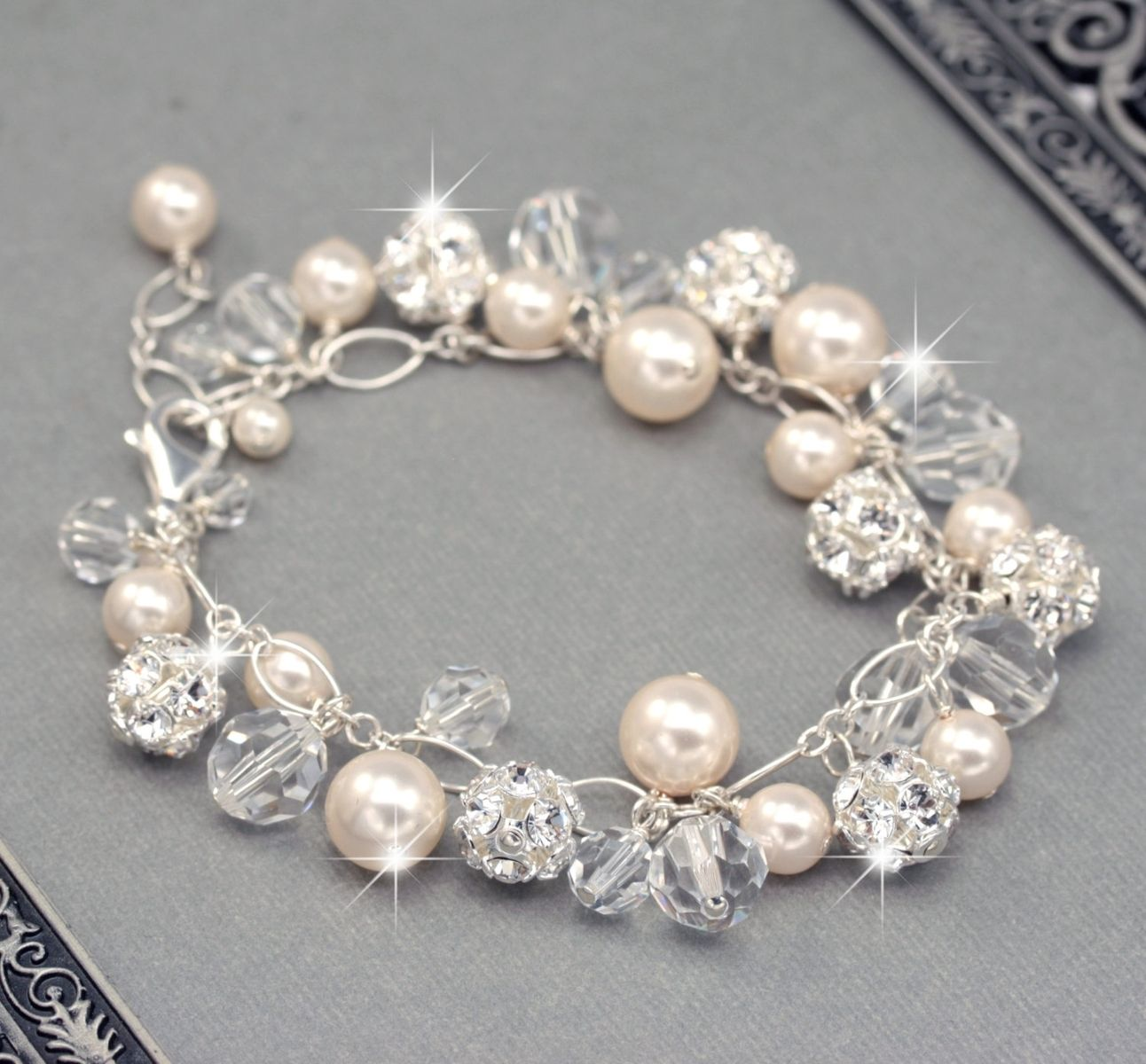 Buy Hand Crafted Bridal Bracelet  Swarovski Crystals Pearls And Rhinestones made to order