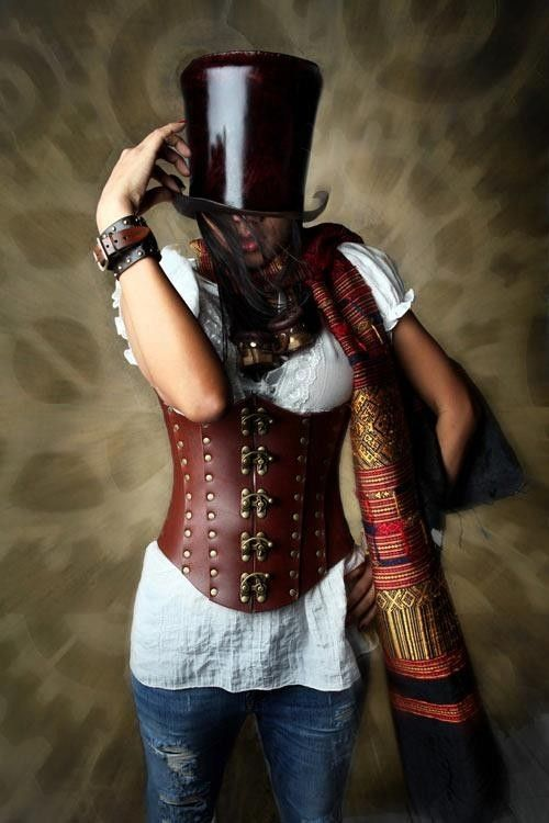 Hand Made Hard Leather Riveted Corset By Lady Heathers