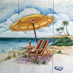 Children S Beach Chair With Umbrella Wingback Accent Chairs Handmade Hand Painted Custom Ceramic Tile Mural Of Scene By Keramica Studio | Custommade.com
