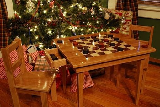 Handmade Kids Checker Board Table And Chairs By Larue