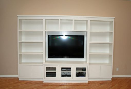 Custom Made Modern Painted Entertainment Wall Unit by Two