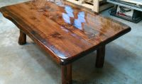 Hand Made Live Edge Coffee Table On Small Log Legs by ...