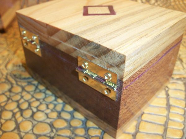 Wooden Jewelry Box with Hinges